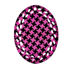 Houndstooth2 Black Marble & Pink Brushed Metal Oval Filigree Ornament (two Sides) by trendistuff