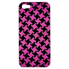 Houndstooth2 Black Marble & Pink Brushed Metal Apple Iphone 5 Hardshell Case by trendistuff