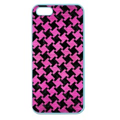 Houndstooth2 Black Marble & Pink Brushed Metal Apple Seamless Iphone 5 Case (color) by trendistuff