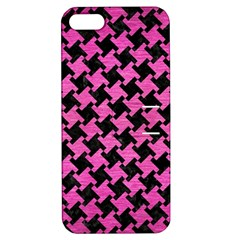Houndstooth2 Black Marble & Pink Brushed Metal Apple Iphone 5 Hardshell Case With Stand by trendistuff