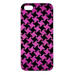 Houndstooth2 Black Marble & Pink Brushed Metal Apple Iphone 5 Premium Hardshell Case by trendistuff