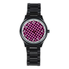 Houndstooth2 Black Marble & Pink Brushed Metal Stainless Steel Round Watch by trendistuff