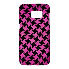 Houndstooth2 Black Marble & Pink Brushed Metal Samsung Galaxy S7 Hardshell Case  by trendistuff