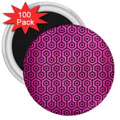 Hexagon1 Black Marble & Pink Brushed Metal 3  Magnets (100 Pack) by trendistuff