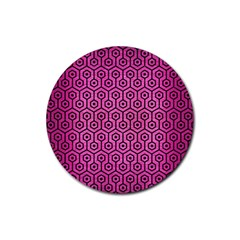 Hexagon1 Black Marble & Pink Brushed Metal Rubber Coaster (round)  by trendistuff
