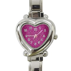 Hexagon1 Black Marble & Pink Brushed Metal Heart Italian Charm Watch by trendistuff