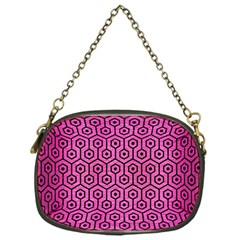 Hexagon1 Black Marble & Pink Brushed Metal Chain Purses (one Side)  by trendistuff