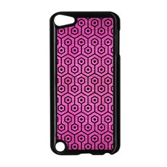 Hexagon1 Black Marble & Pink Brushed Metal Apple Ipod Touch 5 Case (black) by trendistuff