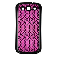 Hexagon1 Black Marble & Pink Brushed Metal Samsung Galaxy S3 Back Case (black) by trendistuff