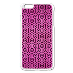Hexagon1 Black Marble & Pink Brushed Metal Apple Iphone 6 Plus/6s Plus Enamel White Case by trendistuff