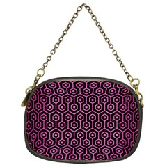 Hexagon1 Black Marble & Pink Brushed Metal (r) Chain Purses (one Side)  by trendistuff