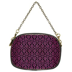 Hexagon1 Black Marble & Pink Brushed Metal (r) Chain Purses (two Sides)  by trendistuff