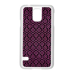 Hexagon1 Black Marble & Pink Brushed Metal (r) Samsung Galaxy S5 Case (white) by trendistuff