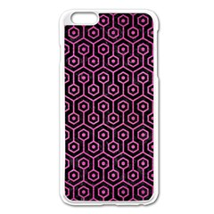 Hexagon1 Black Marble & Pink Brushed Metal (r) Apple Iphone 6 Plus/6s Plus Enamel White Case by trendistuff