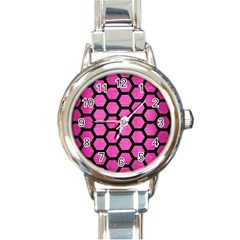 Hexagon2 Black Marble & Pink Brushed Metal Round Italian Charm Watch by trendistuff