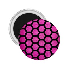 Hexagon2 Black Marble & Pink Brushed Metal 2 25  Magnets by trendistuff