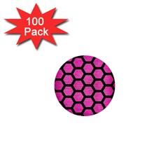 Hexagon2 Black Marble & Pink Brushed Metal 1  Mini Buttons (100 Pack)  by trendistuff