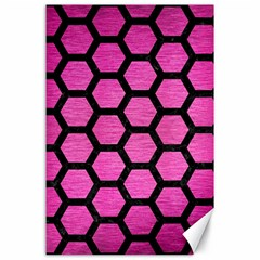 Hexagon2 Black Marble & Pink Brushed Metal Canvas 24  X 36  by trendistuff