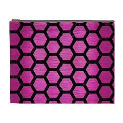 Hexagon2 Black Marble & Pink Brushed Metal Cosmetic Bag (xl) by trendistuff