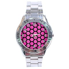 Hexagon2 Black Marble & Pink Brushed Metal Stainless Steel Analogue Watch by trendistuff