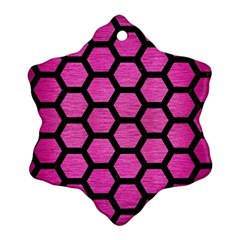 Hexagon2 Black Marble & Pink Brushed Metal Snowflake Ornament (two Sides) by trendistuff