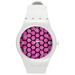 Hexagon2 Black Marble & Pink Brushed Metal Round Plastic Sport Watch (m) by trendistuff