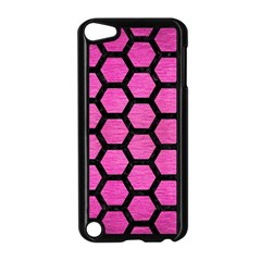 Hexagon2 Black Marble & Pink Brushed Metal Apple Ipod Touch 5 Case (black) by trendistuff