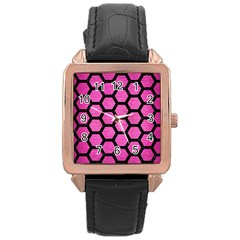 Hexagon2 Black Marble & Pink Brushed Metal Rose Gold Leather Watch  by trendistuff
