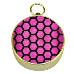 Hexagon2 Black Marble & Pink Brushed Metal Gold Compasses by trendistuff