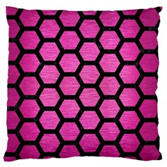 Hexagon2 Black Marble & Pink Brushed Metal Standard Flano Cushion Case (one Side) by trendistuff