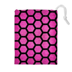 Hexagon2 Black Marble & Pink Brushed Metal Drawstring Pouches (extra Large) by trendistuff