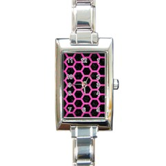 Hexagon2 Black Marble & Pink Brushed Metal (r) Rectangle Italian Charm Watch by trendistuff