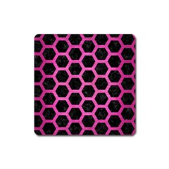 Hexagon2 Black Marble & Pink Brushed Metal (r) Square Magnet by trendistuff