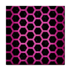 Hexagon2 Black Marble & Pink Brushed Metal (r) Face Towel by trendistuff
