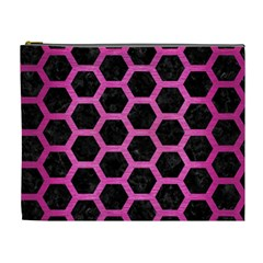 Hexagon2 Black Marble & Pink Brushed Metal (r) Cosmetic Bag (xl) by trendistuff