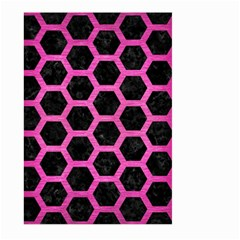 Hexagon2 Black Marble & Pink Brushed Metal (r) Large Garden Flag (two Sides) by trendistuff