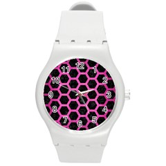Hexagon2 Black Marble & Pink Brushed Metal (r) Round Plastic Sport Watch (m) by trendistuff