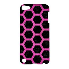 Hexagon2 Black Marble & Pink Brushed Metal (r) Apple Ipod Touch 5 Hardshell Case by trendistuff