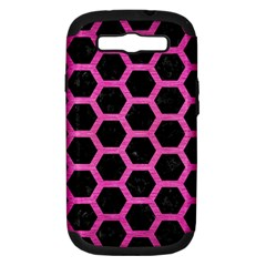 Hexagon2 Black Marble & Pink Brushed Metal (r) Samsung Galaxy S Iii Hardshell Case (pc+silicone) by trendistuff