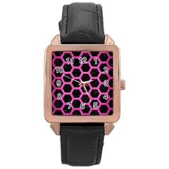 Hexagon2 Black Marble & Pink Brushed Metal (r) Rose Gold Leather Watch  by trendistuff
