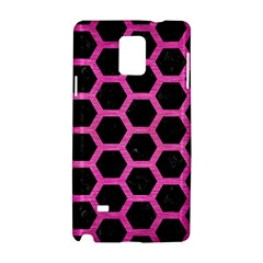 Hexagon2 Black Marble & Pink Brushed Metal (r) Samsung Galaxy Note 4 Hardshell Case by trendistuff
