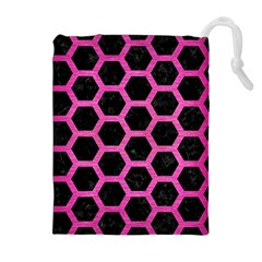 Hexagon2 Black Marble & Pink Brushed Metal (r) Drawstring Pouches (extra Large) by trendistuff