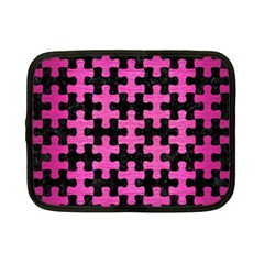 Puzzle1 Black Marble & Pink Brushed Metal Netbook Case (small)  by trendistuff