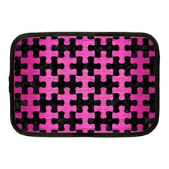 Puzzle1 Black Marble & Pink Brushed Metal Netbook Case (medium)