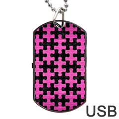 Puzzle1 Black Marble & Pink Brushed Metal Dog Tag Usb Flash (one Side) by trendistuff