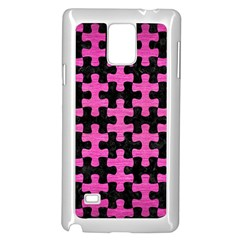 Puzzle1 Black Marble & Pink Brushed Metal Samsung Galaxy Note 4 Case (white) by trendistuff