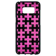Puzzle1 Black Marble & Pink Brushed Metal Samsung Galaxy S8 Black Seamless Case