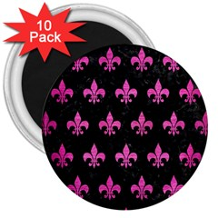 Royal1 Black Marble & Pink Brushed Metal 3  Magnets (10 Pack)  by trendistuff