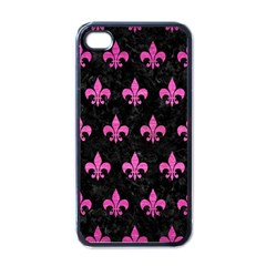 Royal1 Black Marble & Pink Brushed Metal Apple Iphone 4 Case (black) by trendistuff