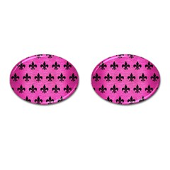 Royal1 Black Marble & Pink Brushed Metal (r) Cufflinks (oval) by trendistuff